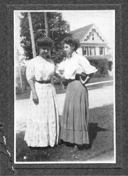 My grandmother as a young woman (right) with her sister Alma (I love that hands-on-hips attitude)