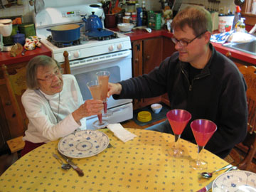 Mother Jan and Neighbor Ken raise their glasses to (and of) rhubarb.