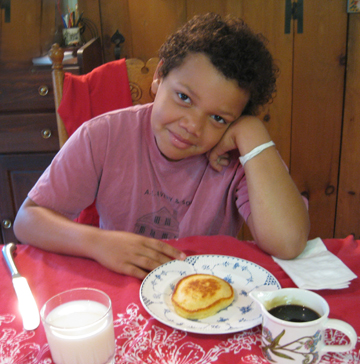 "The Irrepressible Michael contemplates a Hasty Tasty Pancake (I think he's ready to utter Ricky's favorite line, ""I don't mess around, boy!"")"