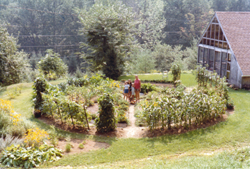 "Functional yet beautiful, Florette Zuelke's round garden (shown here in 1980) won a prize from the PBS show ""Crockett's Victory Garden."" (Courtesy of Ena Haines)"