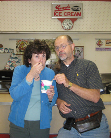 Barbara and Gary try some peach ice cream.