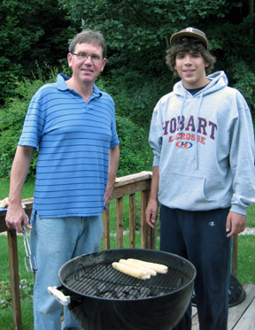 Bill and Jasi man the grill