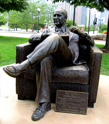 This statue in downtown Chicago honors the character of Bob Hartley. It comes complete with a couch on which passersby can recline. (Courtesy of TV Land)
