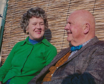 Julia Child and James Beard in December 1970, taken by Paul Child. Used with permission/courtesy of the Schlesinger Library, Radcliffe Institute, Harvard University.